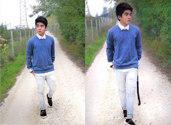 Aris Oliveros - H&M Blue Sweater, Oxygen Pants, Vans Sneakers - Autumn Walk
