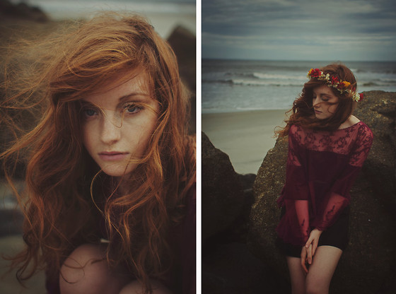 Esther Boller - Free People Lace Top, Skort, Diy Flower Crown - She was of the sea