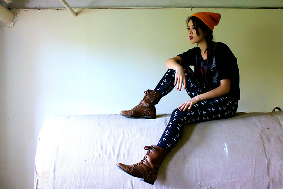 Kathy C. - H&M Orange Beanie, Thrifted Cat Shirt, Charlotte Russe Cross Leggings, Steve Madden Combat Boots - Holla Halloween
