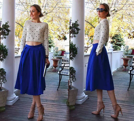 Coco Bolinho - Jessica Buurman Skirt, Daniel Wellington Watch, Zerouv Sunnies, Zara Sweater, Forever 21 Strappy Heels, Oasap Clutch, H&M Necklace As A Headband - COBALT BLUE PRINCESS