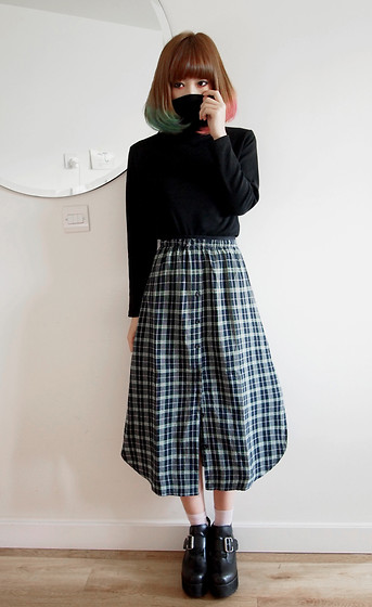 Jeanette T - Platform Ankle Boots, Checked Skirt, Polo Neck Top - Gaze