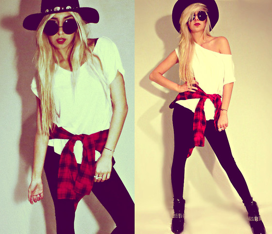 Alexa Villa - Sneaker Wedges, Forever 21 Hat, H&M T Shirt - Urban Cowgirl