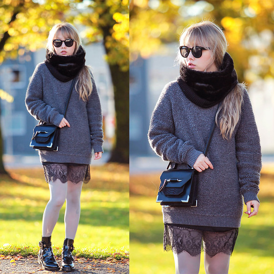 Ivy Xu - Marc By Jacobs Boyfriend's Sweater, Mackage Bag, Zara Slip -  A bit of softness