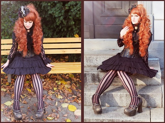 Beli B. - Selfmade Hairpiece, Modified Bodyline Shoes, Modified Corsage, Selfmade Necklace - Autumn Vintage Lolita