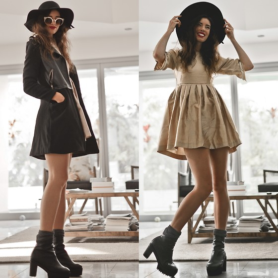 Elle-May Leckenby - Pearl Embellished Baby Doll Dress, Black Capsule Boots, Black Felt Garden Hat, Felt And Pu Leather Trench, Zerouv Bronze Framed Shades - For overcast days