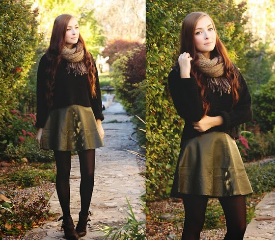 Breanne S. - Lulu*S Olive Faux Leather Skirt - Miss Olive
