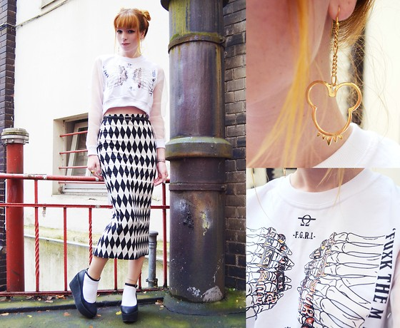 Malin Rouge - Choies Skeleton Hands Print Sweater, Mickey Mouse Earrings, Black & White Diamond Skirt - The Squeezing Skeleton
