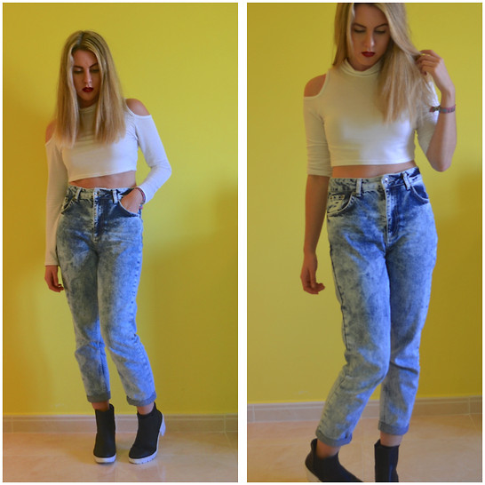 Laura jade Conway - Topshop Mom Jeans, River Island Monochrome Boots, Missguided Cut Out Crop Top - Keep it Simple