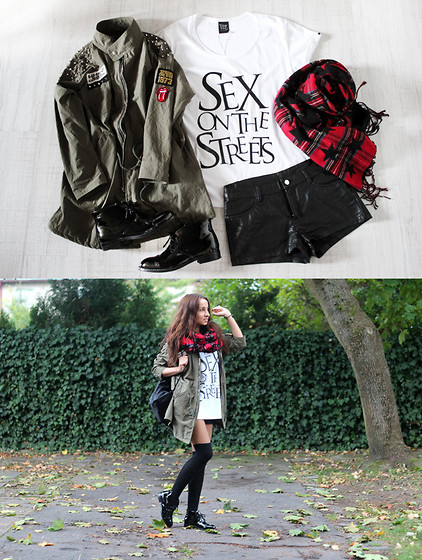 Candice P - Everything But Not Happiness T Shirt, H&M Shorts, Jacket - Tartan