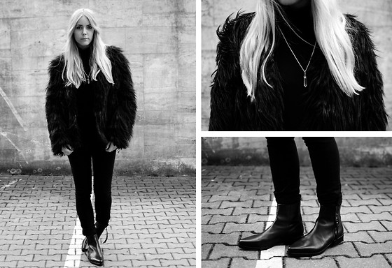 Zwillingsnaht . - Sheinside Hairy Coat, Fux Jewellery Crystal Necklace, All Saints Keiko Boot - #BelowTheKnee