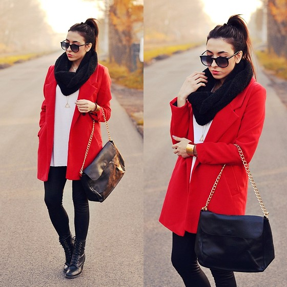 Pam S - Persun Coat, Persun Bag, Persun Bracelet - Red coat