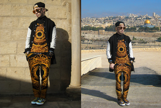 Andre Judd - Baroque Ring Tank, Baroque Ring Trousers, Kenzo Flying Tiger Print Sneakers, Ihana Long Baseball Coat - JERUSALEM
