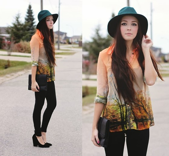 Breanne S. - Choies Forest Print Blouse, Forever 21 Clutch - Forest