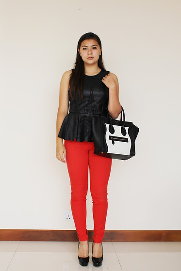 Kyra J - Jimmy Choo Black Heels, H&M Red Pants, Céline Black And White Leather Purse, Zara Black Leather Peplum Top - Red. White. Black.