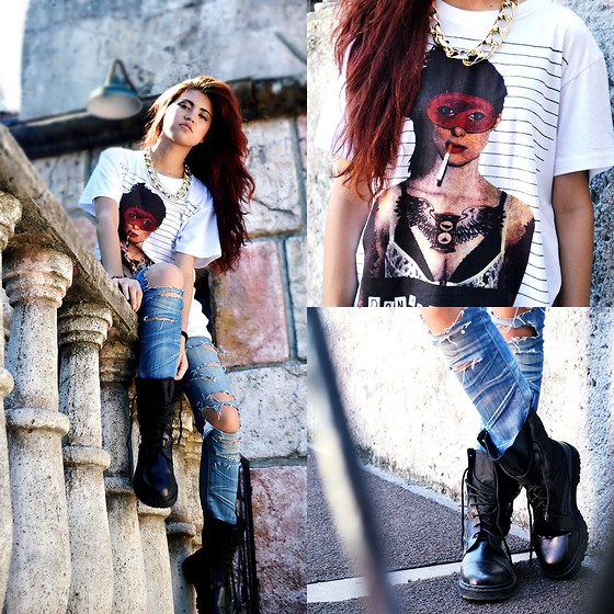 Jennica Sanchez - Raaj Shirt, Raaj Combat Boots, Guess? Made By Me - Illest