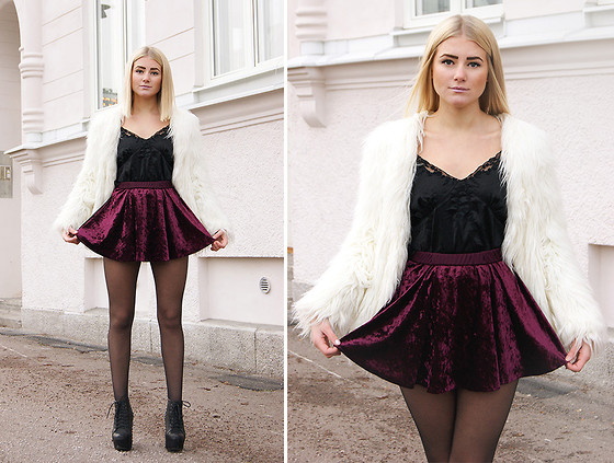Fanny Lindblad - Indiska Top, Chicy.Se Faux Fur, Motel Rocks Skirt - Perfect skirt