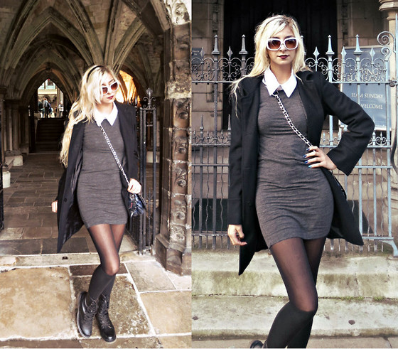 Alexa Villa - H&M Sweater Dress, Betsey Johnson Purse, Dr. Martens Combat Boots, Collared Tshirt - London Sweater Weather