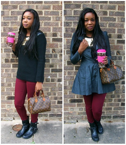 Laura C - River Island Coat, Office Boots, Louis Vuitton Bag - On my way to work // StylishVue