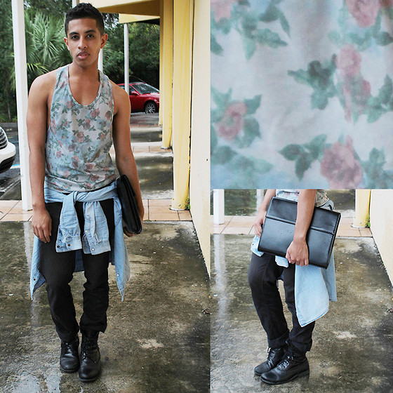 Kenny Jay - Topman Floral Tank, Zara Briefcase, H&M Denim Shirt, Zara Black Denim, Zara Boots - Rocking Florals