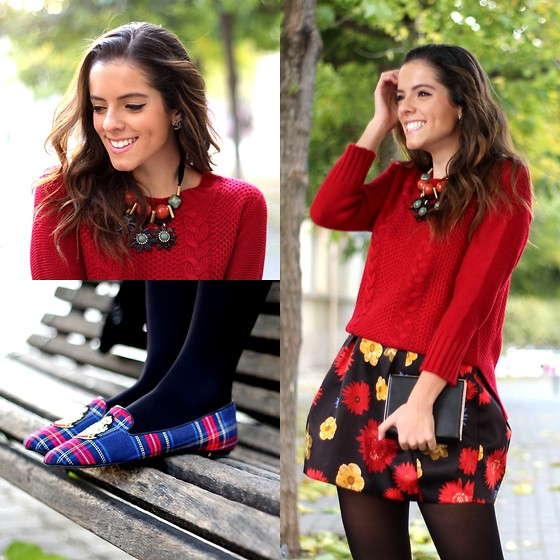 Leonor Castro - Jolly Chic Sweater, Skirt, Flats - Fall Flowers