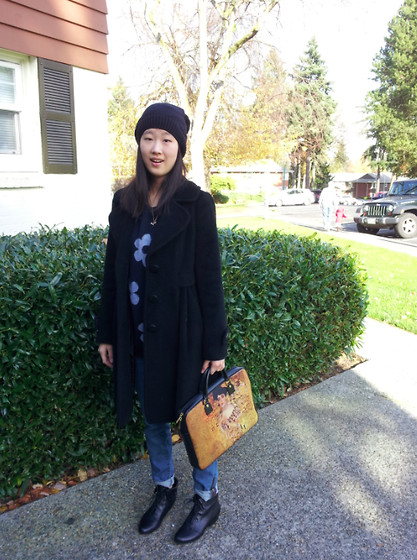 Stevie K - American Apparel Beanie, Gap Boyfriend Jeans, Yuu Boots, Forever 21 Sweater - Sunday Outing