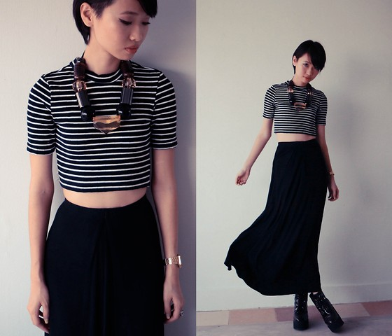 Uli C - Topshop High Neck Stripe Crop Top, City Plaza Maxi Skirt, Underground Wedge Creeepers, The Quiet Riot Chunky Block Necklace - Over The T(cr)op
