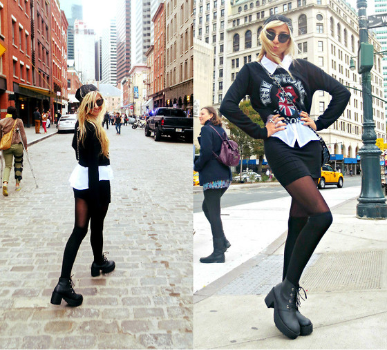 Alexa Villa - Forever 21 Rolling Stones Sweater, H&M Pencil Skirt, H&M Beanie, Betsey Johnson Purse - New York Block Party