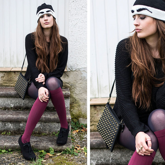 Andrea Funk / andysparkles.de - Asos Hat, H&M Sweater, Item M6 Socks, Pieces Studded Bag, Primark Navy Tights - Big Brows