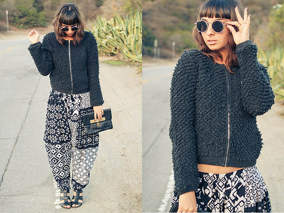 Chanelle L.™ - Penelope's Vintage Sunglasses, Topshop Fuzzy Sweater, Sole Society Wedges - Harem