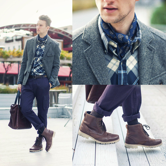 Marcel Floruss - Marc Mcnairy Flannel Shirt, Shades Of Grey By Micah Cohen Cargo Pants, Men In Cities Ascot, Dr. Scholl's Boots - Ascot