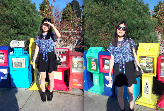 Stevie K - Romwe Skater Skirt, Sheinside Tights, Yuu Boots, Tommy Hilfiger Bag, Forever 21 Blouse - Psychedelia
