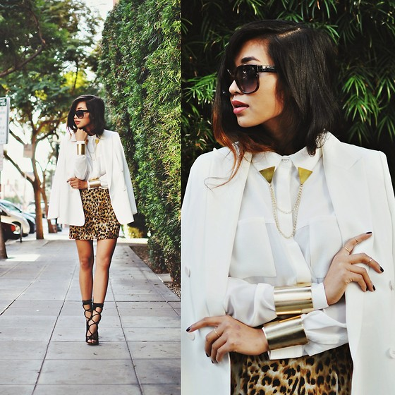 Heliely Bermudez - Nooy By Yoon Chiffon Blazer, Minkpink It's A Man's World, Naven Leopard Skirt, Mettle Fair Trade Triangle Lapel Pins, Citrine By The Stones Cuffs - Running w/ Gold Accents