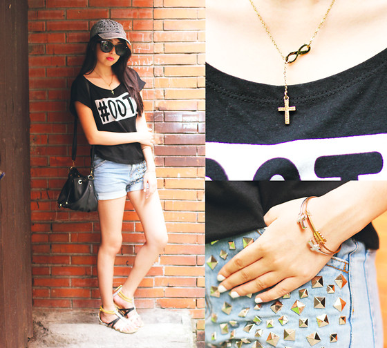 Sophie Ramos - Pulseras By Kim Infinity X Cross Necklace, Break The Trend Mnl Studded Shorts - Roux 28