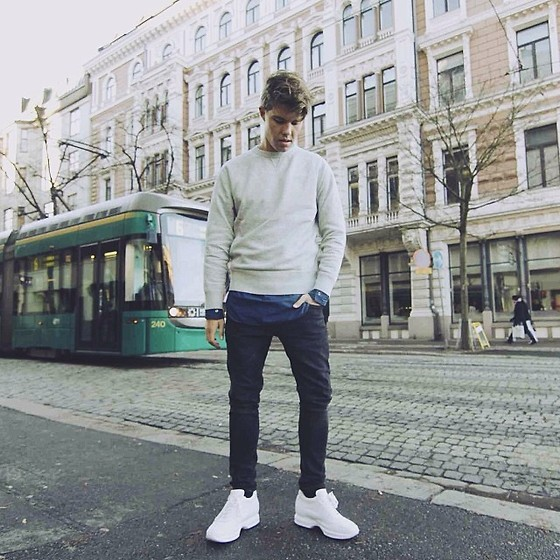 Andreas Wijk - Guidomaggi Shoes, H&M Jeans, Acne Studios Shirt, Acne Studios Sweater - Helsinki