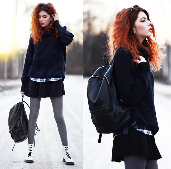Ebba Zingmark - Sheinside Plaid Flanell Shirt, Sheinside Oversized Knitt With Turtleneck, Romwe Backpack, Choies Skirt, Tabbisocks Leggings, Hickies Instead Of Shoe Laces :), Zerouv Glasses - WAKE ME UP