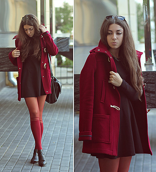 Viktoria Vasilenko - Topshop Coat, Forever 21 Dress, New Look Tights, Topshop Cutout Boots, Zara Bag - Black Lab – Ghost In Your Mind