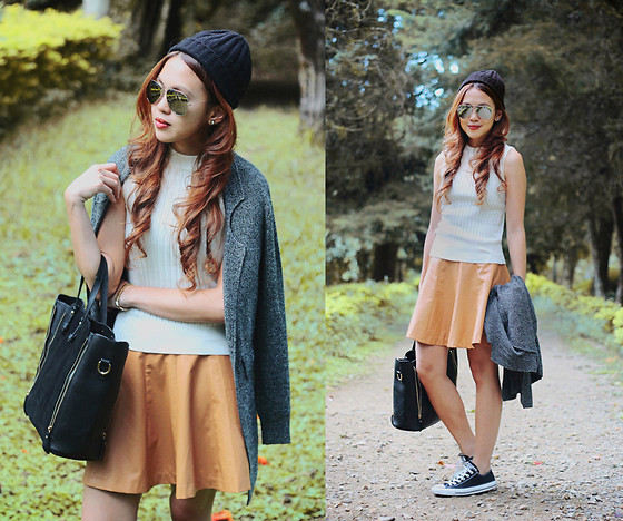 Danika Rio Navarro - Forever 21 Leather Skirt, Converse Sneakers, Nava Knitted Top - 20 Degrees