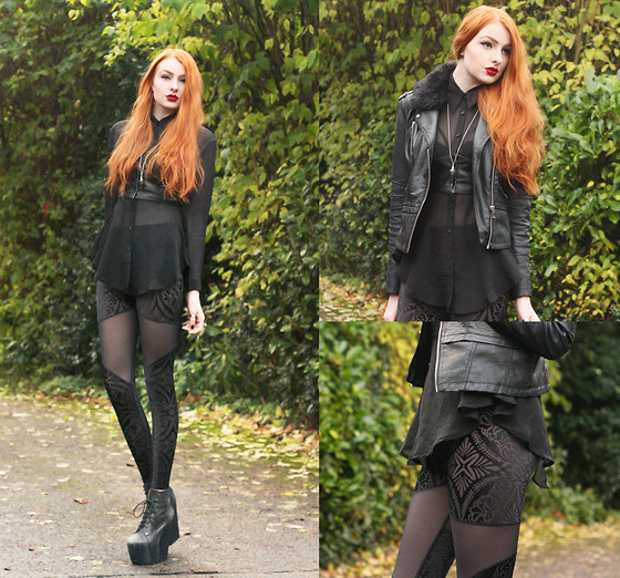Olivia Emily - River Island Jacket, Widow Chiffon Shirt, Regalrose Labradorite Necklace, Black Milk Clothing Burned Velvet Spartan Leggings, Jeffrey Campbell Fredas - Burned Velvet.