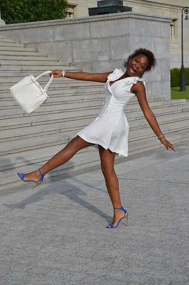 White Dress and Blue \u0026 Gold Heels