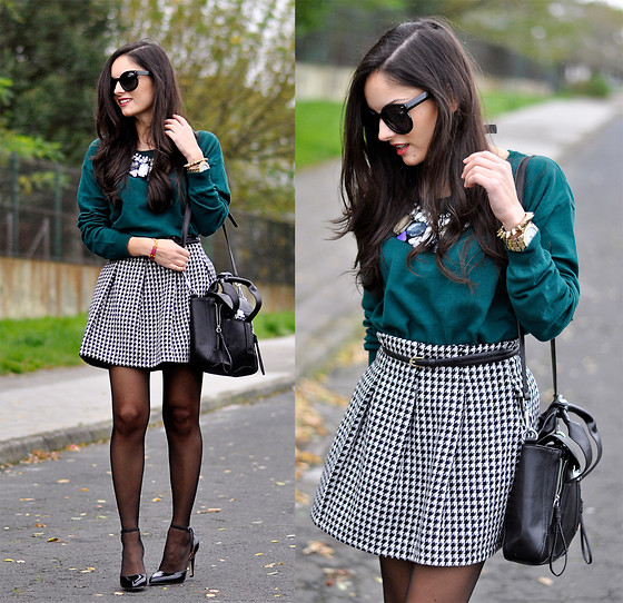 Alba . - Persun Bag, Just Fab Shoes - ...Houndstooth Skirt...