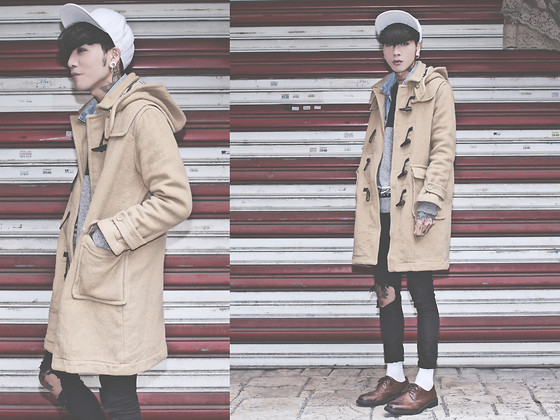 IVAN Chang - Vintage Duffle Coat, Levi's® Vintage Vest, Tastemaker 達新美 Wool Sweater, Topshop Black Skinny Jeans, While Oxford Shoes - 121213 TODAY STYLE