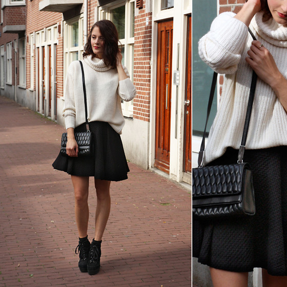 Renée Sturme - Gina Tricot Sweater, Gina Tricot Skirt, Theory Quilted Purse - Black & white
