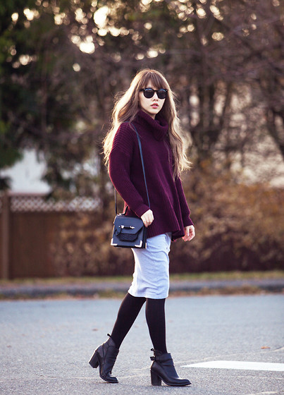 Ivy Xu - American Apparel Sweater, Mackage Bag, Zara Boots - Burgundy
