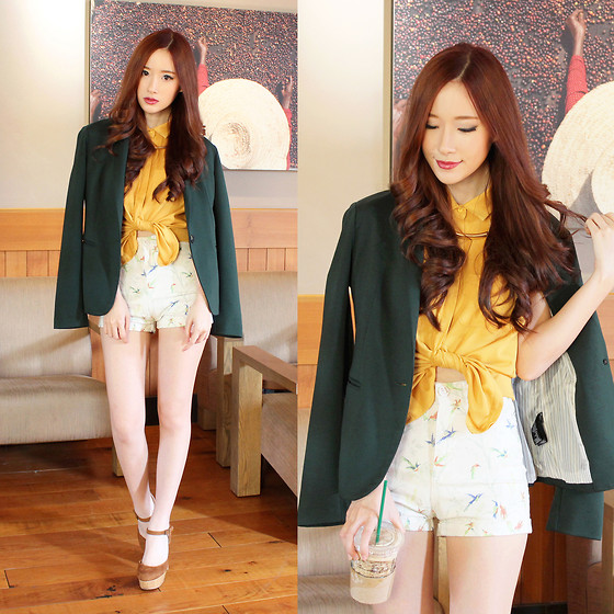 Elle Yamada - Forever 21 Dark Green Blazer, Gowigasa Mustard Tie Up Top - Friday the 13th