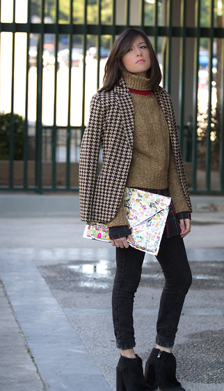 Eleni K. - Céline Blazer, Acne Studios Fur Booties, Custom Sticker Bag - Grunge is Dead