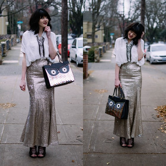 Kacie Cone - Anthropologie Sirene Maxi Skirt, Kate Spade Wise Owl Bag, Free People Statement Necklace - Sequins Please