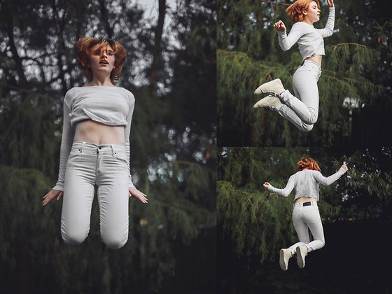 Theresa Fryer - Cheap Monday White Jeans, Bonds White Mid Drift Top, Vans Hightop - Falling