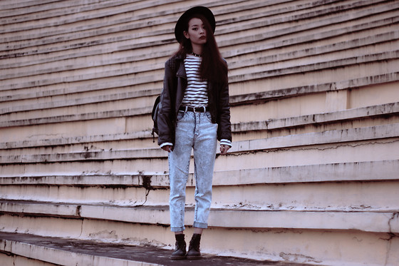 Vu Thien - H&M Leather Jacket, Uniqlo Shirt, Thrift Store Jeans, Dr. Martens Boots - COME AS YOU ARE