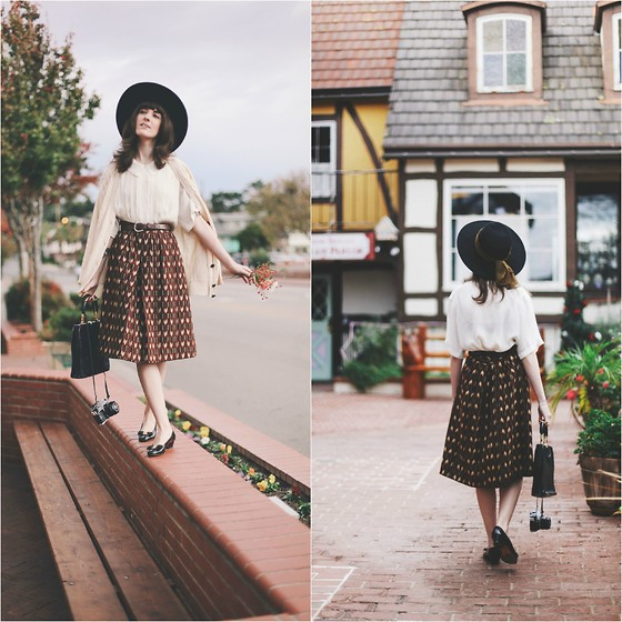 Kiana Mc - Vintage Hat, Vintage Blouse, Vintage Skirt, Vintage Ferragamos Shoes, Vintage Purse - Solvang Days