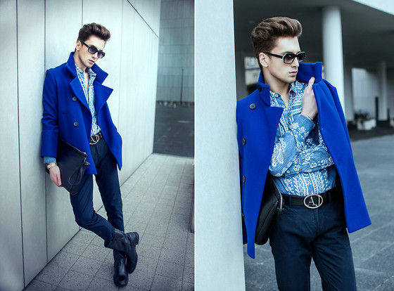 Łukasz Omiotek - Coat Designed By Myself, New Yorker Shirt, Zara Shoes, Trousers Oodji, Marni Sunglasses For H&M, Giorgio Armani Belt, Zara Bag - BLUE